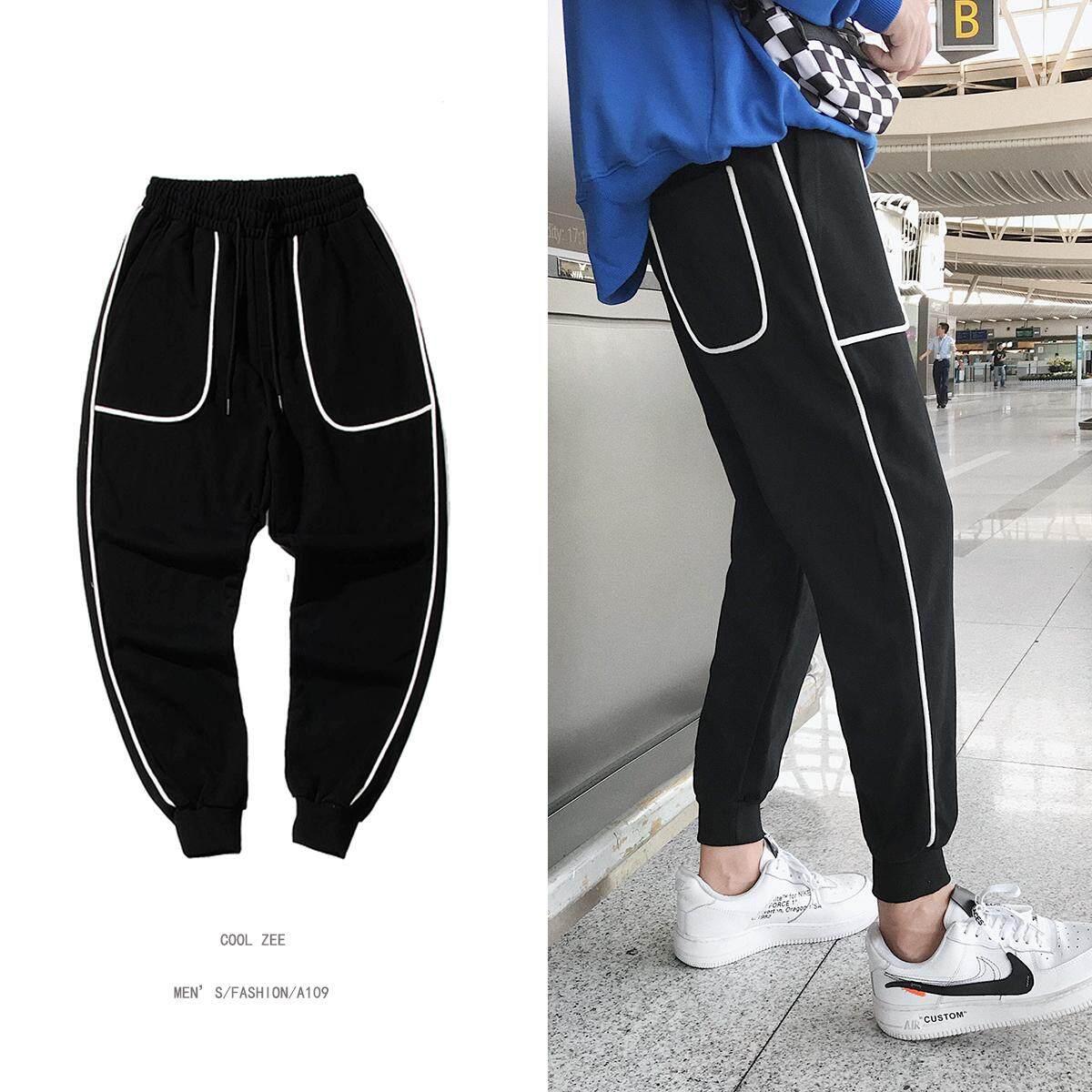 2e4b990f99f1 Summer Hong Kong Style Pants Men Korean Style Trend Lively Fella Ankle  Banded Pants Capri Pants