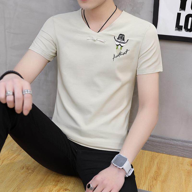 T-shirt lengan panjang pria 2018 musim gugur model baru Kerah V Lengan Pendek Baju Dalaman pakaian pria Tren Kaos Gaya Korea membentuk tubuh pakaian - 2
