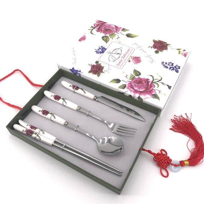 กล่องของขวัญสวยงาม ภายในกล่องชุดเครื่องใช้บนโต๊ะอาหาร สไตล์ยุโรปแบบตะวันตก ทำจากวัสดุสแตนเลส 4 ชิ้น/ชุด .