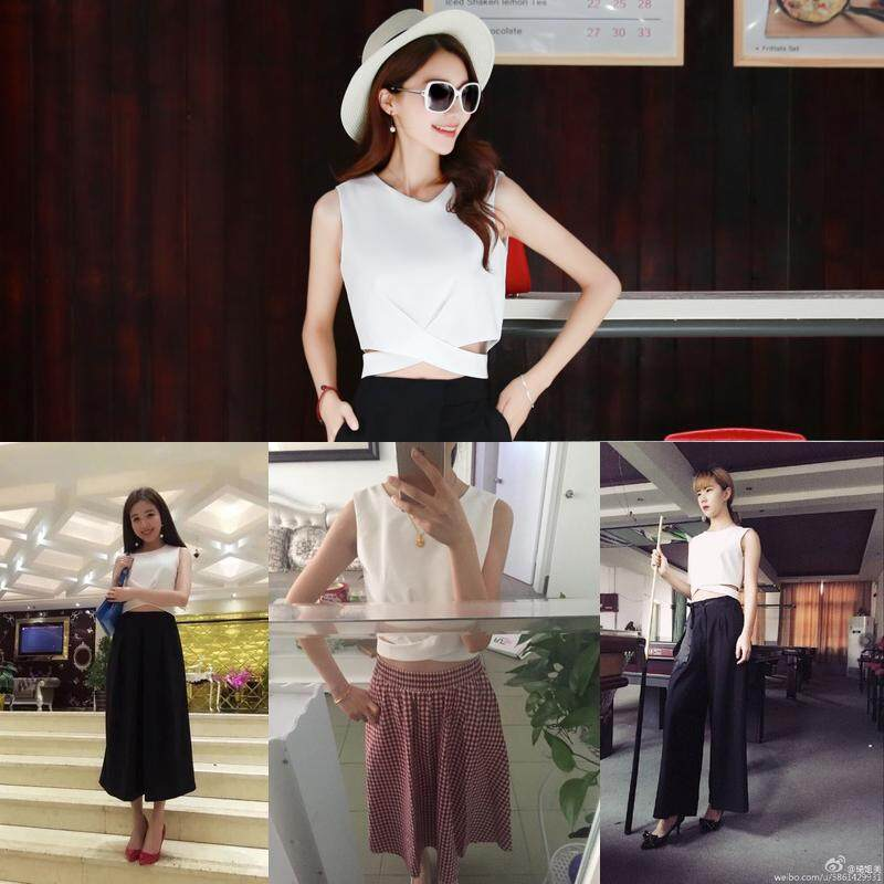 ... Model baru modis putih berongga kerah bulat pusar terlihat rompi wanita model pendek membentuk tubuh pakaian ...