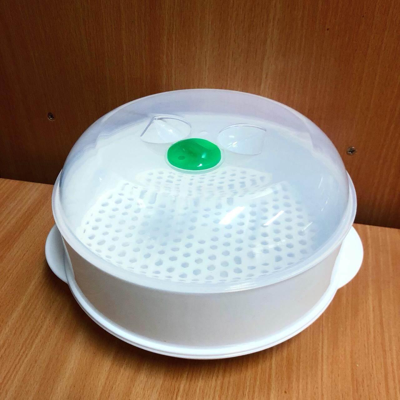 กล่องนึ่ง อุ่น อาหารในไมโครเวฟ ภาชนะสำหรับนึ่ง อบอาหารในไมโครเวฟ.