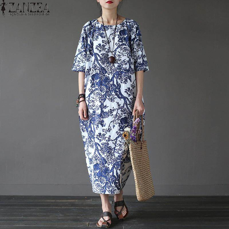 ขาย Zanzea Womens Boho Floral Printed Short Sleeve Cotton Linen Maxi Long Dress Loose Baggy Casual Kaftan Vestido Plus Size White Intl สมุทรปราการ ถูก