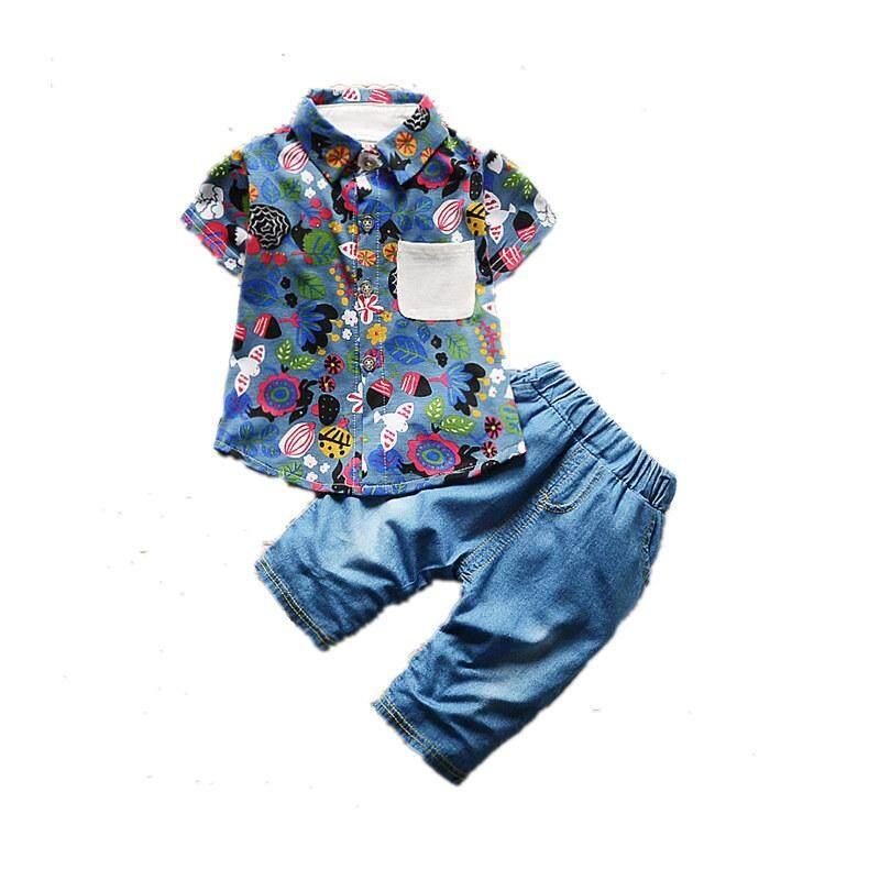 ราคา ราคาถูกที่สุด กางเกงขาสั้นผ้าฝ้ายทารกเด็ก สีฟ้า Leaveland