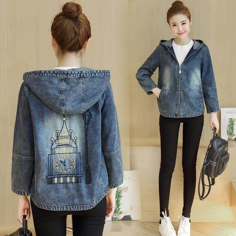 Womens Fashion Floral Embroidered Hooded Denim Cropped Jacket By Taobao Collection.
