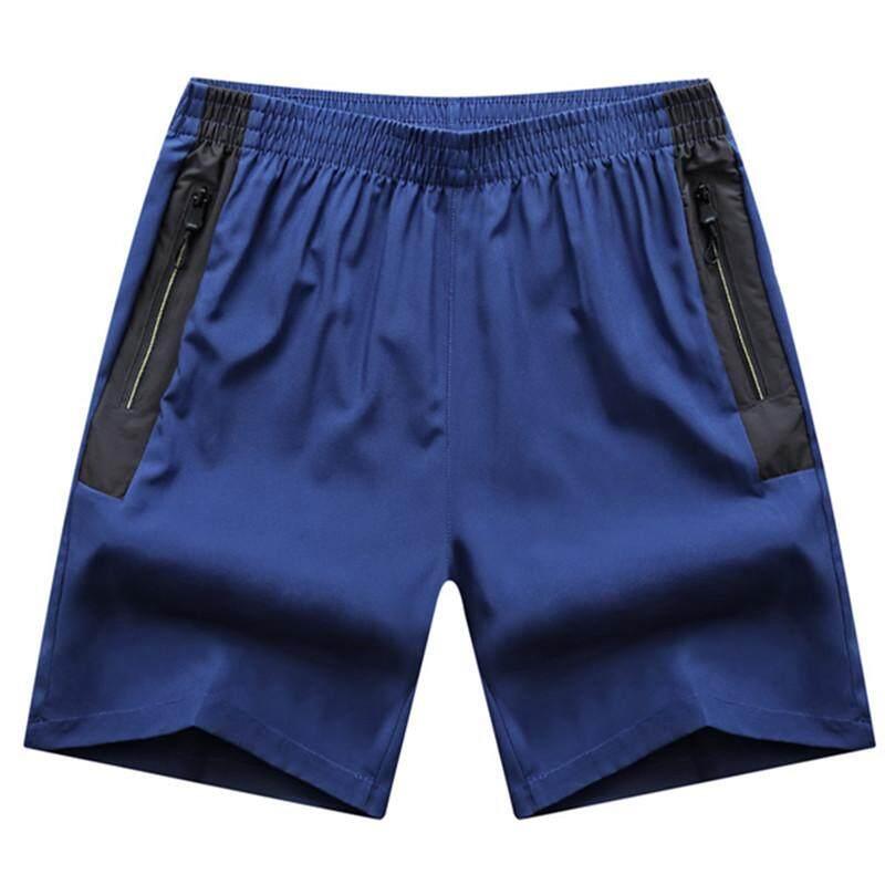 Longgar Kebugaran Berjalan Him Kering Ukuran Plus Kode Celana Pelatihan Kebugaran Celana Pendek (Biru)