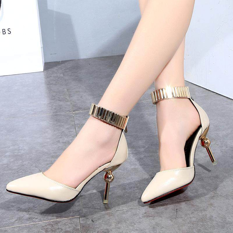2de758efb75 2017 spring new fashion shallow mouth shoes hollow buckle metal pointed high -heeled shoes direct
