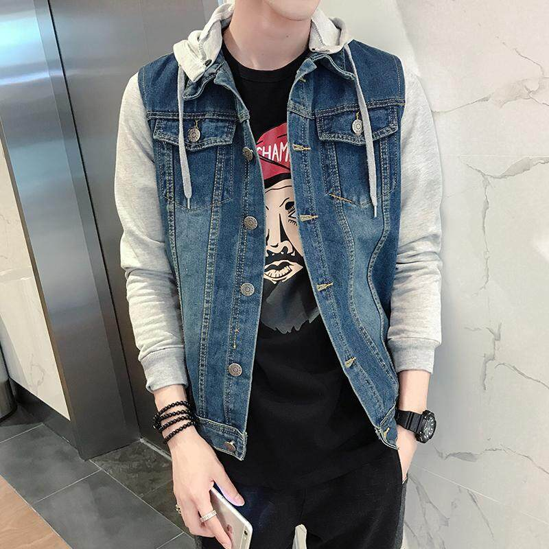 faebba78f2d Autumn Sweater Sleeve Joint BF Style Coat Korean Style Slim Fit Mock  Two-Piece Denim