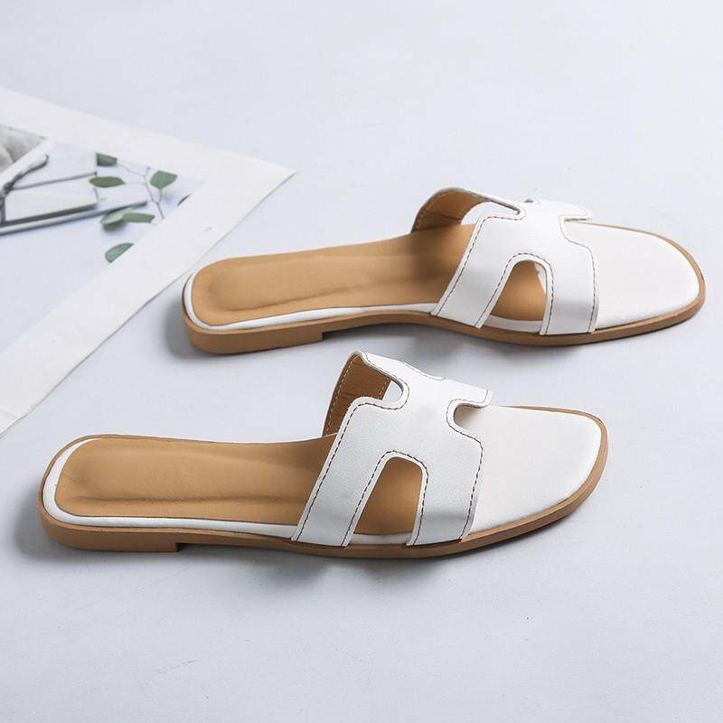 5d77e8feb0ae5d 2019 New Style Students H Slipper Fashion Outer Wear Korean Style Flat  A-line Versatile