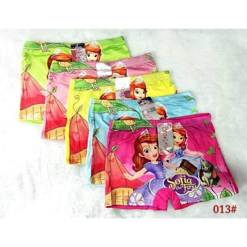 กางเกงในเด็ก กางเกงเด็ก โซเฟีย กางเกงในเด็กลายการ์ตูนผ้านุ่มใส่สบายระบายเหงื่อดีสีสันสดใส(แพ็ค5ตัวคละสี).