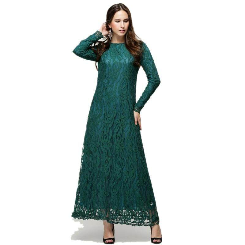 PINLI Baru Muslim Pelangsing Pel Rok Penuh Renda Double Tahan Fashion Eropa dan Amerika Serikat
