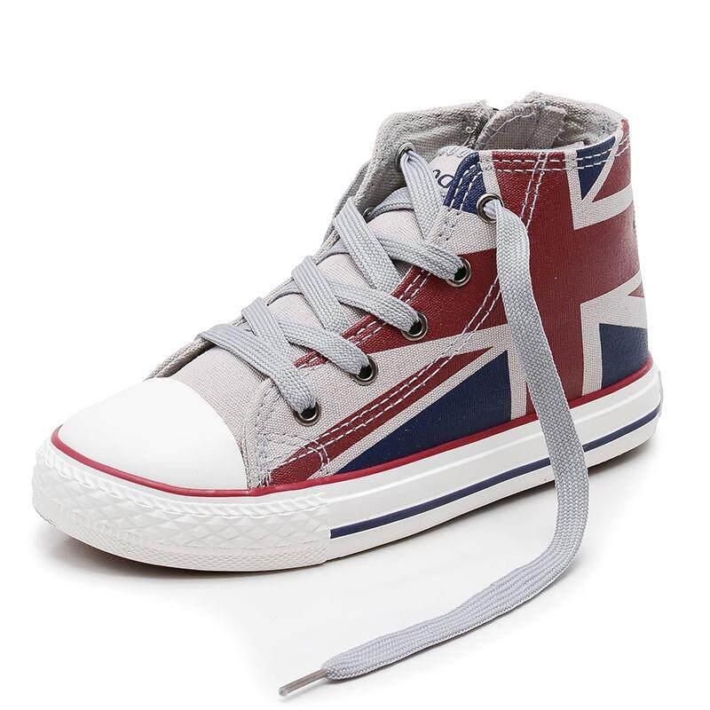 Giày Cổ Cao Trẻ Em Giày Vải Bố Bé Trai Giày Đế Bằng Cô Gái Giày Phong Cách Anh 2018 Mùa Xuân Và Mùa Thu Mẫu Mới Cho Bé Giày Vải Thủy Triều