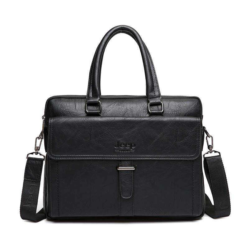 2019 BULUO Brand Men Tote Casual Briefcase Business Shoulder Bag Brown Leather High Quality Messenger Bags 14Laptop A4 Files