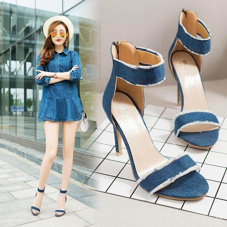 ed2a522142d 2018 Summer New Korean Korean Version 10cm Fine Heel High Heel Snap - Toe  Denim Small