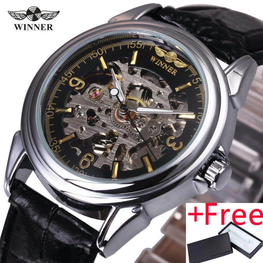 WINNER WINNER 140 2017 Business Men Automatic Mechanical Watch Leather Strap Skeleton Golden Arabic Number Dial Top Brand Design Male Gift - intl bán chạy