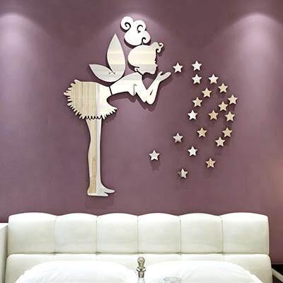 Angel XINGX 3D Wall Stickers Living Room Sofa TV Wall Adhesive Paper Children Room Mirror Bedroom