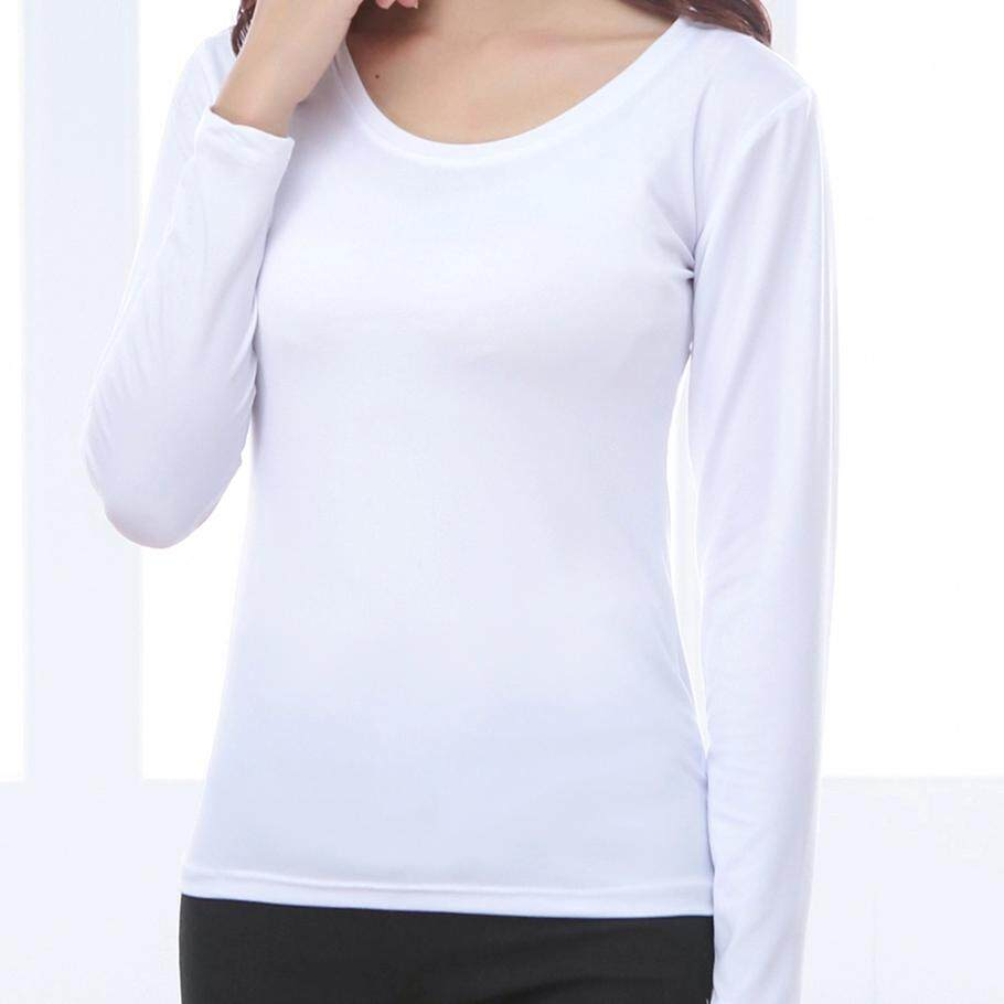 Musim Dingin Versi Korea Membentuk Tubuh Modis Tambah Beludru Lengan Panjang T Kaos Wanita Model Setengah