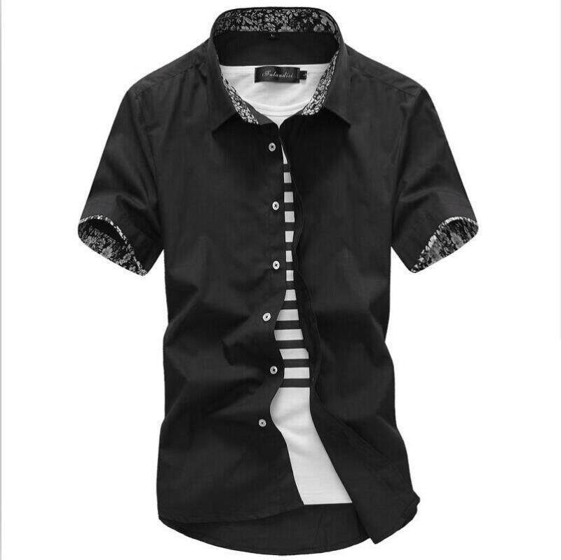 Men Shirt Short Sleeve 2019 Summer Korean Style Trend Fashion And Personality Contrast Color Joint Slim Fit Leisure White Shirt By Taobao Collection.