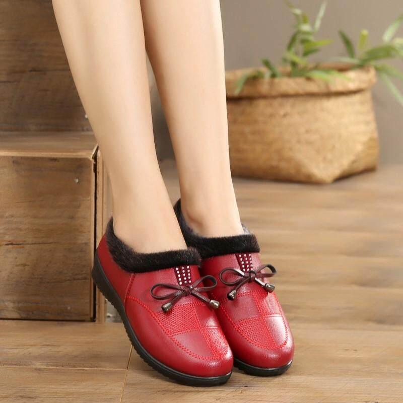 Musim dingin Tambah beludru Penghangat orang tua dan berusia setengah baya  Sepatu kulit teplek Mama wanita bba2957611