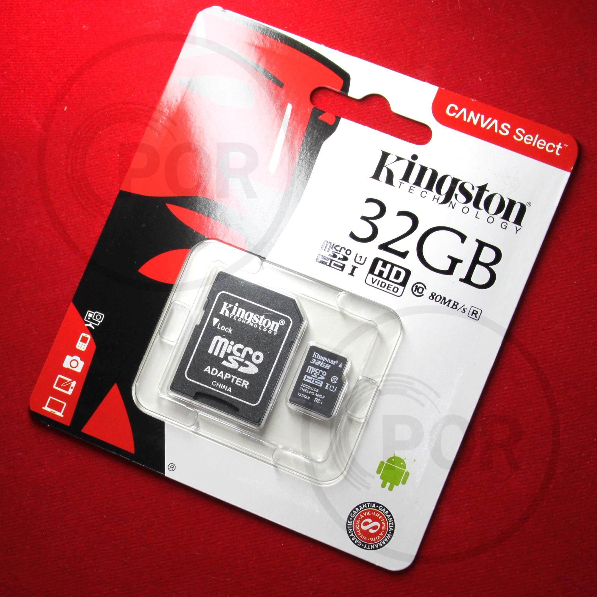 [[[[ของแท้]]]] Kingston 32GB   Kingston Memory Card Micro SD SDHC 32 GB Class 10 คิงส์ตัน เมมโมรี่การ์ด 32 GB