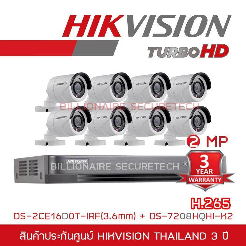 HIKVISION ชุดกล้องวงจรปิด 2 MP DS-7208HQHI-K2 + DS-2CE16D0T-IRF*8 (3.6 mm)