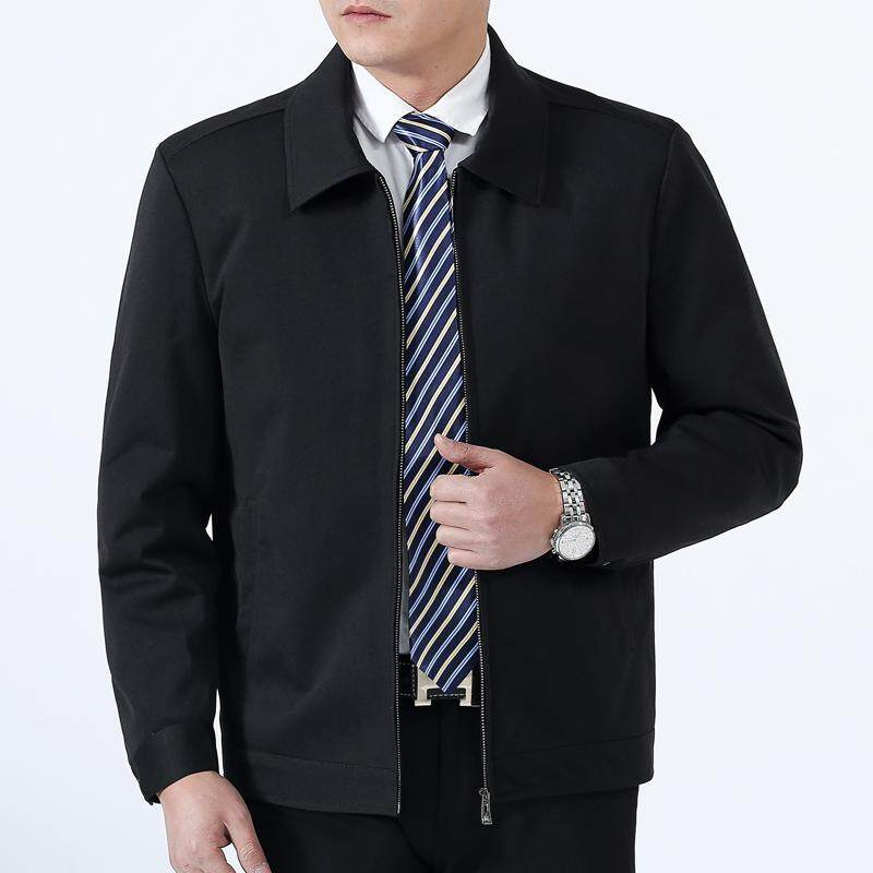 ec826a6e9af3 2018 Spring And Autumn Middle-aged Business plus Velvet Jacket Men Stand  Collar Leisure Turn