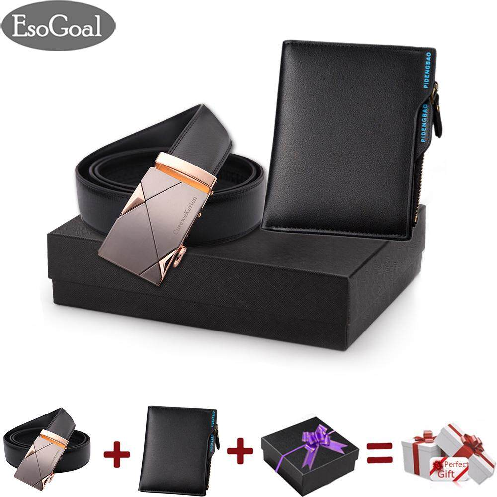 Esogoal Men S Ck Reversible Business Casual Leather Belt With Short Wallet Set For Valentine S Day Present Box 2 Pack Intl ใน จีน