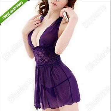 Lingerie seksi ungu muda jin piyama feminin set 0168