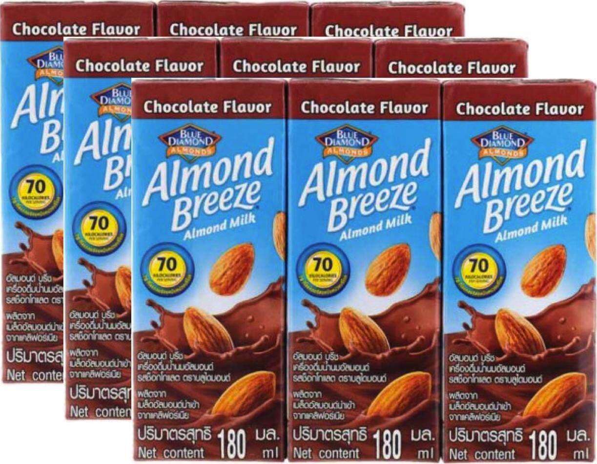 Blue Diamond Almond Breeze Almond Milk Chocolate Flavor บลูไดมอนด์ อัลมอนด์ บรีซ นมอัลมอนด์ รสช็อคโกแลต 180ml. x 9กล่อง