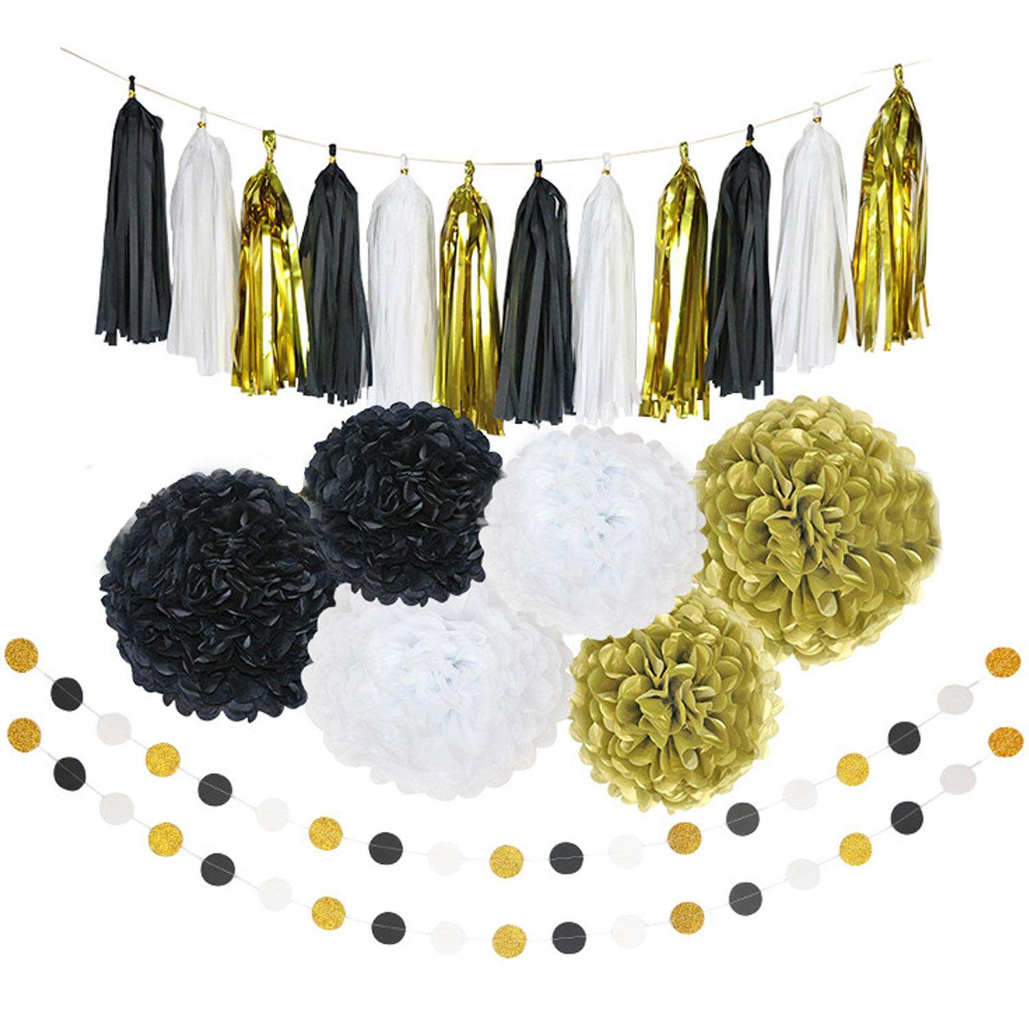 Party supplies buy party supplies at best price in singapore www 20pcs paper decorations set pom poms flower shape paper balls tassels string decorative accessories for pink junglespirit Images