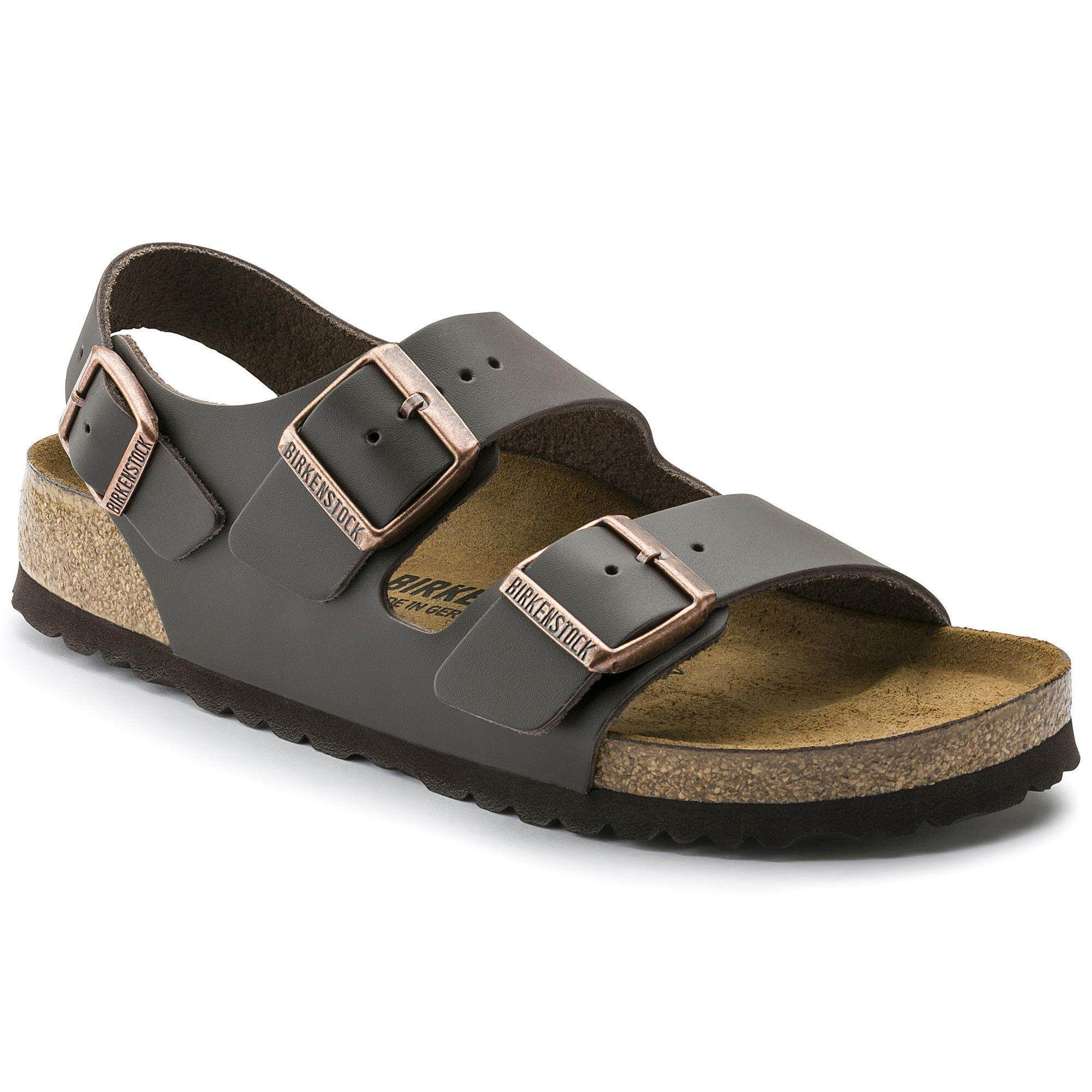 cb6f9afea922 Birkenstocks Women Sandals Women Back Ankle-Strap Milano Natural Leather  Dark Brown