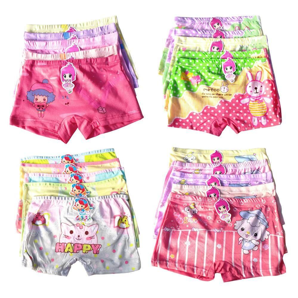 กางเกงในเด็กหญิง แบบขาสั้น แพ็ค10 ตัว คละลายน่ารัก ครบทุกไซซ์.