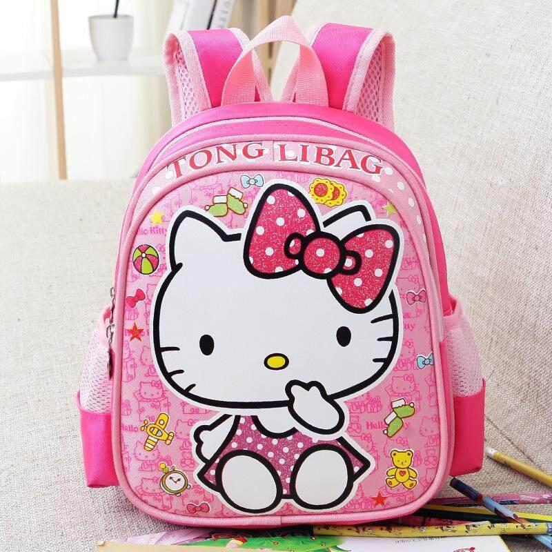 กระเป๋านักเรียน กระเป๋าสะพายไหล่ กระเป๋าเป้เด็ก ลาย Hello Kitty สุดน่ารัก มี 2 สี.