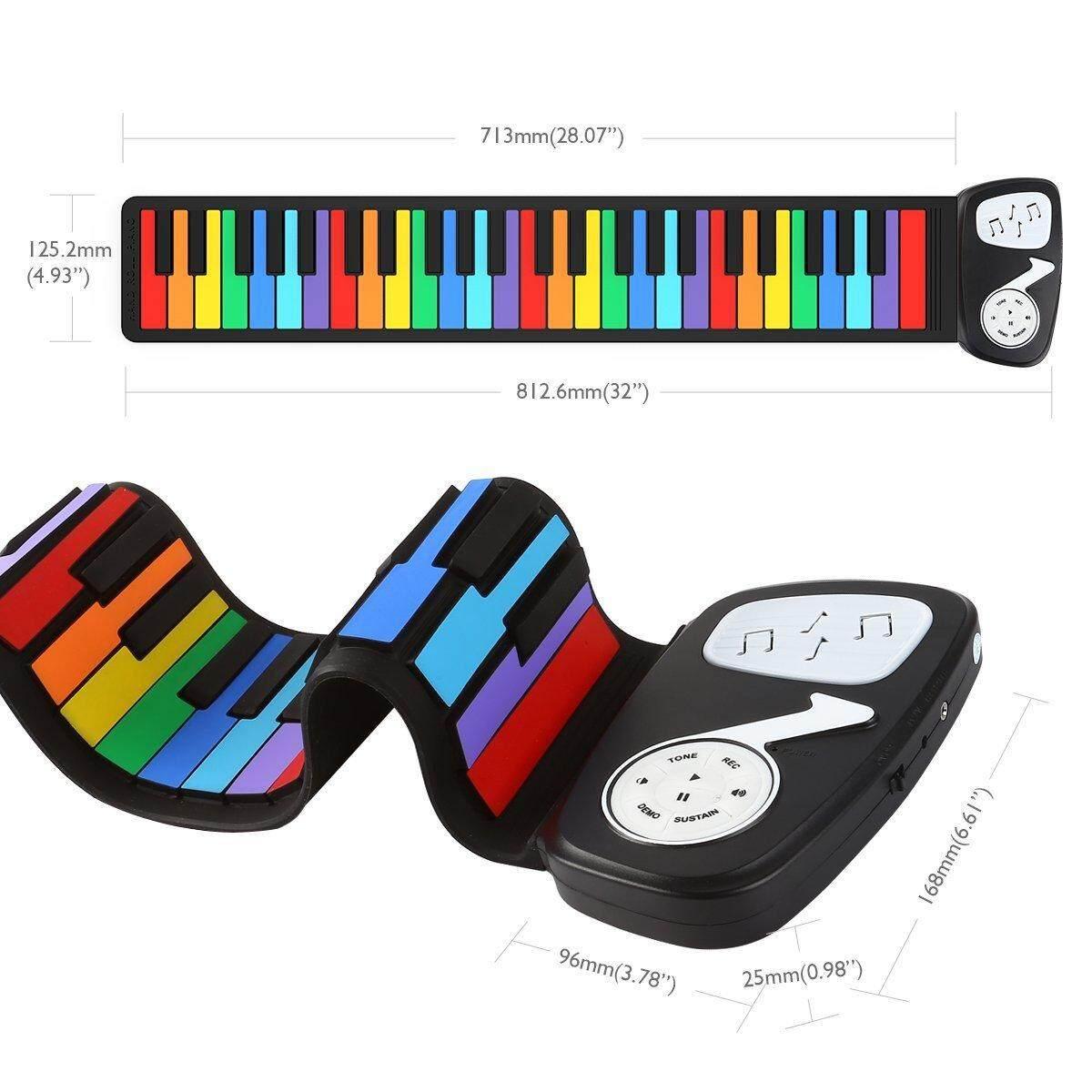 49 คีย์มือม้วนเปียโนกลางแจ้งเครื่องดนตรีไฟฟ้าแป้นพิมพ์ซิลิโคนเปียโนไฟฟ้า Rainbow Hand ม้วนเปียโน - Intl.