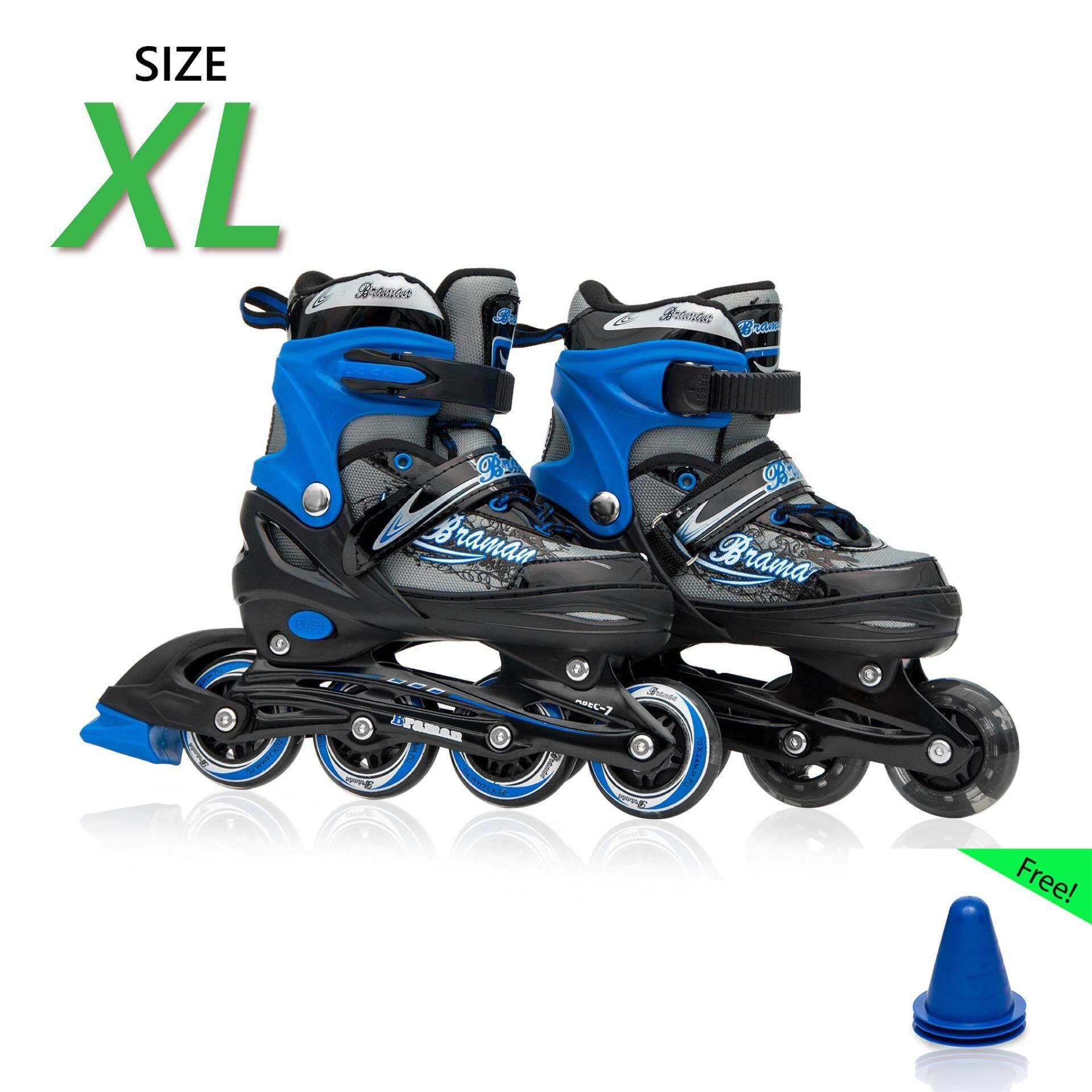 รองเท้าอินไลน์สเก็ต Premium Inline Skate Braman Aluminium Tracks & Abec-7 Wheels With Lights 0415b Warranty 1 Year. เบอร์ 37-44 (black Xl)