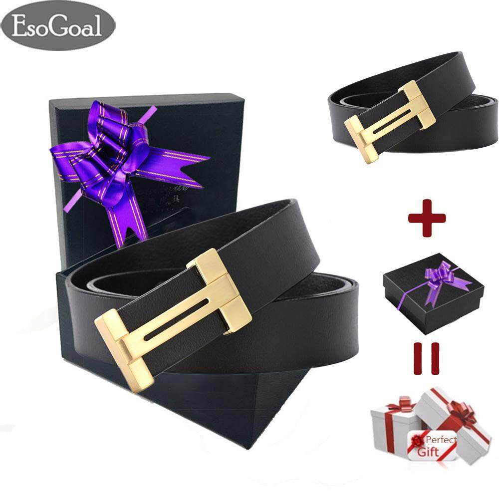 ซื้อ Esogoal Men S H Reversible Business Casual Leather Belt With Removable Buckle For Valentine S Day Present Box Black Gold Intl Esogoal ถูก
