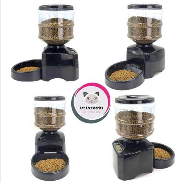 เครื่องให้อาหารอัตโนมัติ ถาดใส่อาหารแมวและหมา เครื่องให้อาหารแมว เครื่องให้อาหารหมาขนาด5.5ลิตร ตั้งเวลาได้ อัดเสียงเรียกได้ รุ่นperfect Pet Dinner สีดำ แถมฟรีแปรงหวีขนแมว1อัน By Piggybank Omsin.