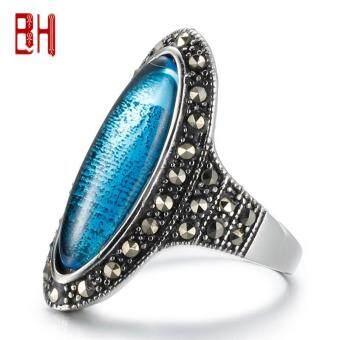 Beli sekarang 2 Baja Tahan Karat Berwarna Cincin Wanita Akik Kristal Cincin Cincin Vintage Fashion (Biru, Merah/Ukuran: 6,7, 8,9) -Intl terbaik murah ...