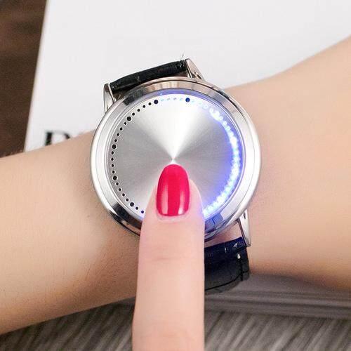 Korea Kreativitas Kepribadian Bundar Kulit Mengambil Singkat Bercahaya dan Anti-Air Elektronik LED Jam Tangan