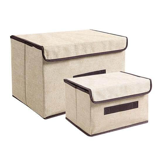 Ju la casa Nonwoven Fabric Folding Storage Box with Cap Clothes Storage Box Fabric Childrens Toy Storage Box Finishing Box