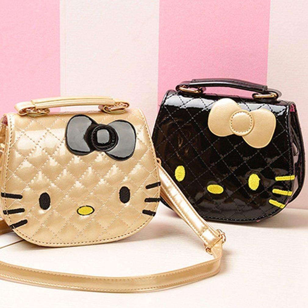 Kawaii น่ารักออกแบบรูปร่างแมวการ์ตูนเด็กผู้หญิงกระเป๋าสะพายข้าง.