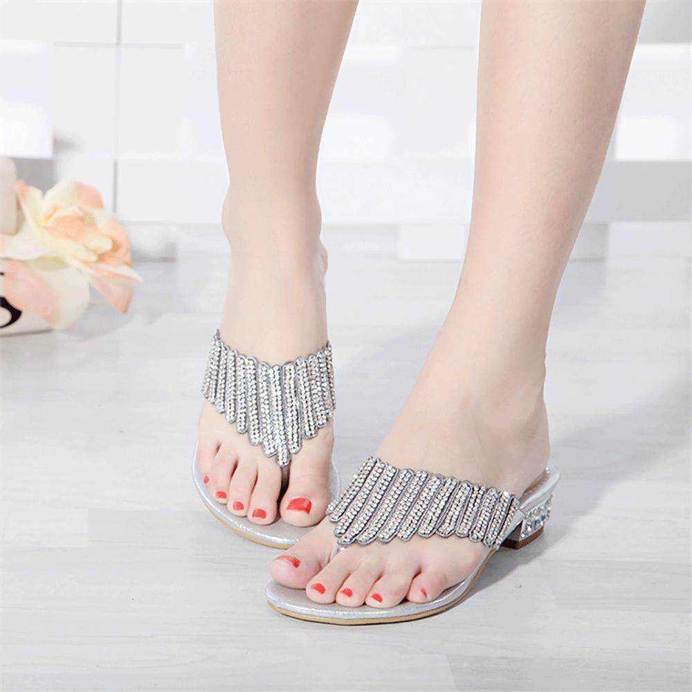 Summer Fashion Low Mules For Women Microfiber Rhinestone Leaf Pattern Ladies Cone Sandals Heel Plus Size Gold Silver 33-44size By Deinny Store.