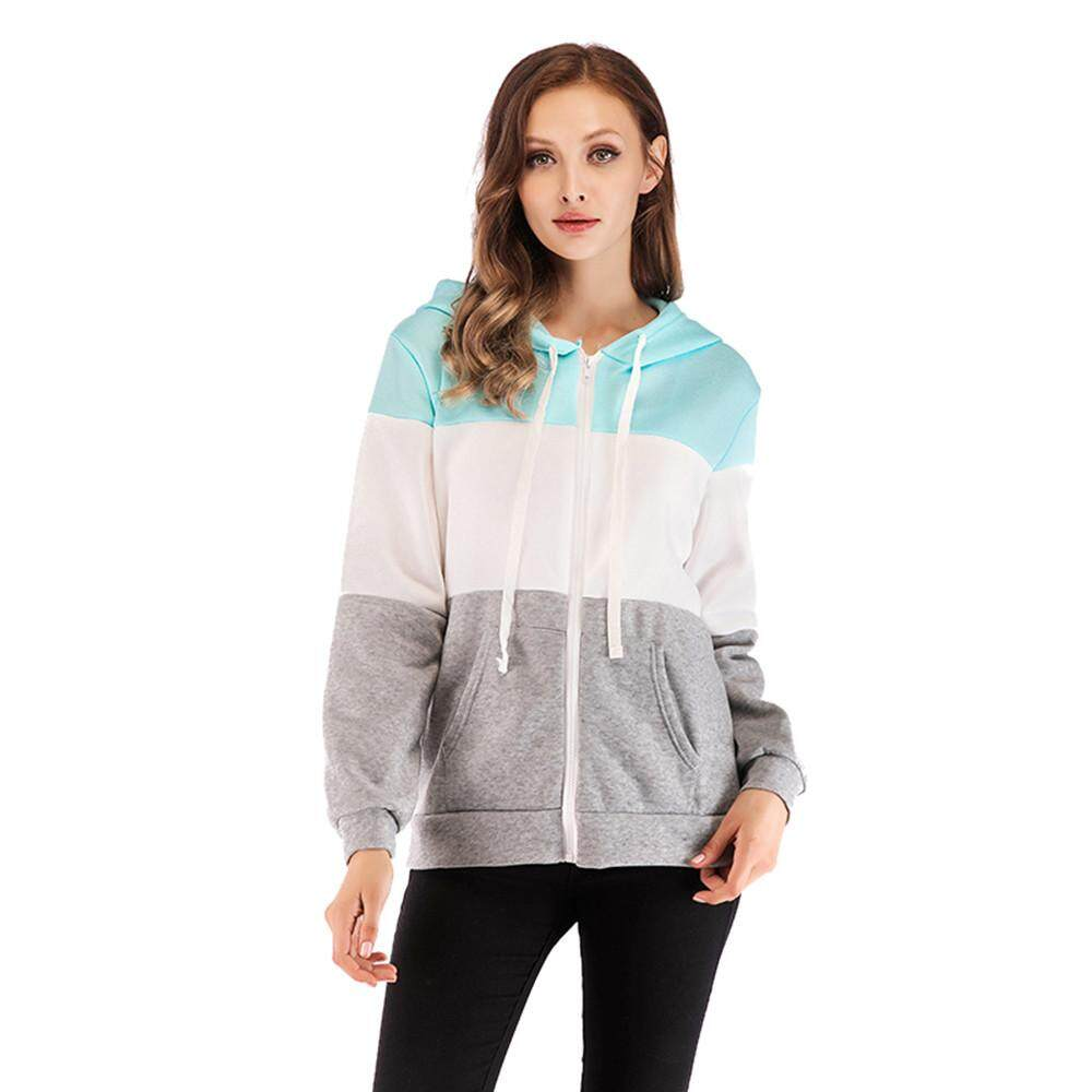 07c5904f315 Aiipstore Women Long Sleeve Autumn Winter Patchwork Zipper Hoodies Top  Blouse Tracksuits