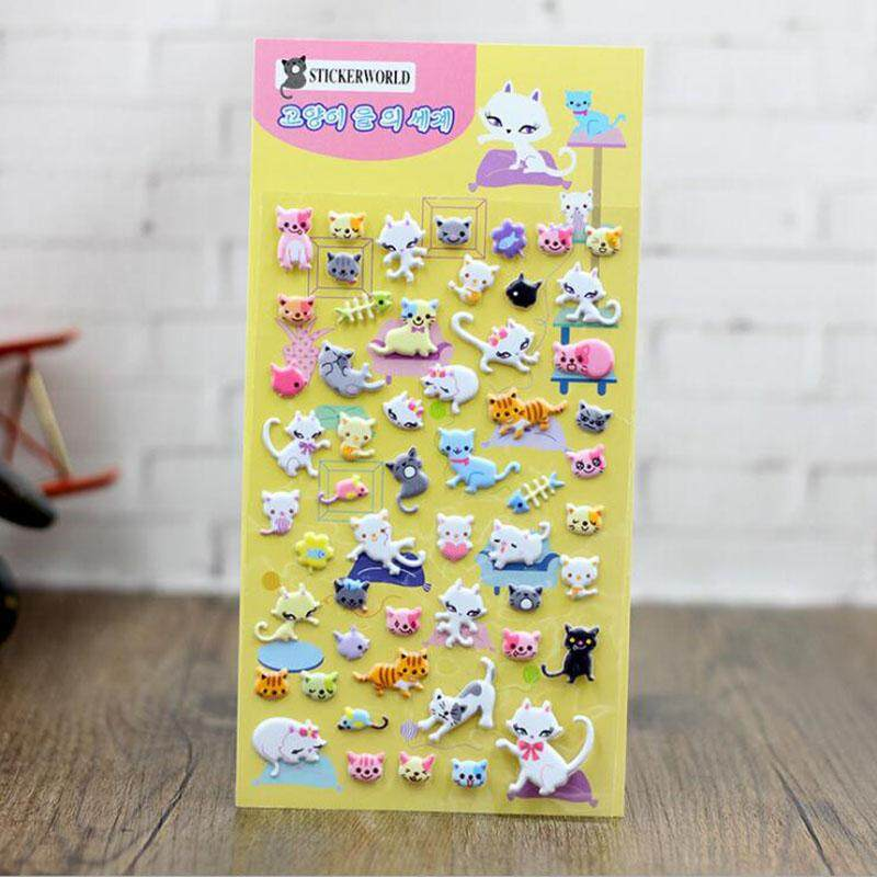 Mua 2pcs Kawaii 3d Cute Cat Cartoon Bubble Stickers Nursery Collage Creative Stationery Gift - intl