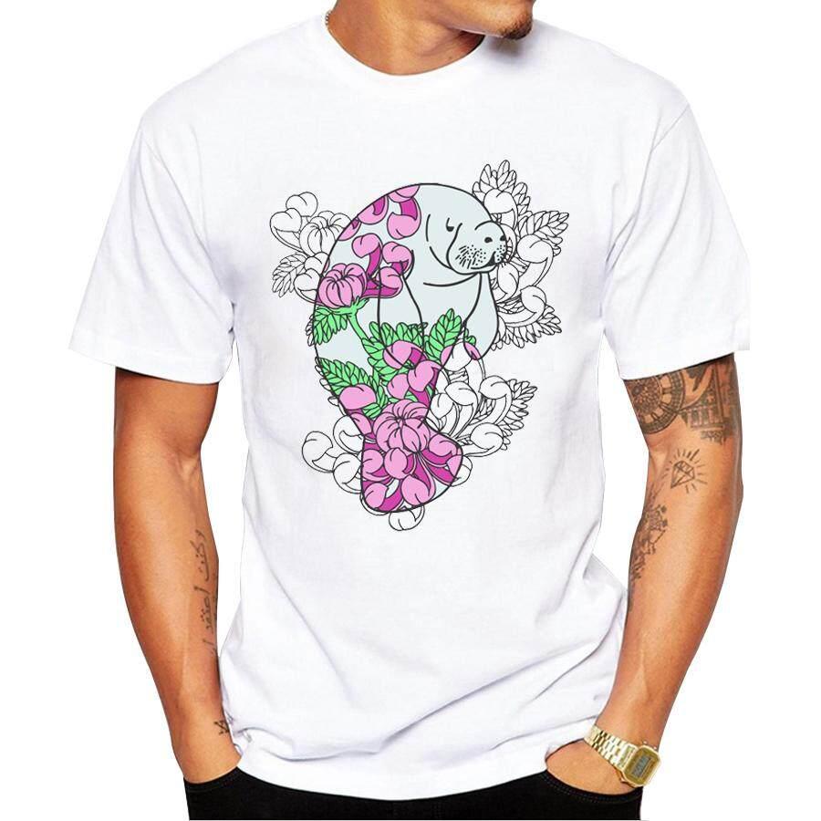 2016 Baru Modis Bunga Manatee Pria Kaus Hipster Keren Bunga Bay Kaus Kemeja Lengan Pendek Kaus-Internasional