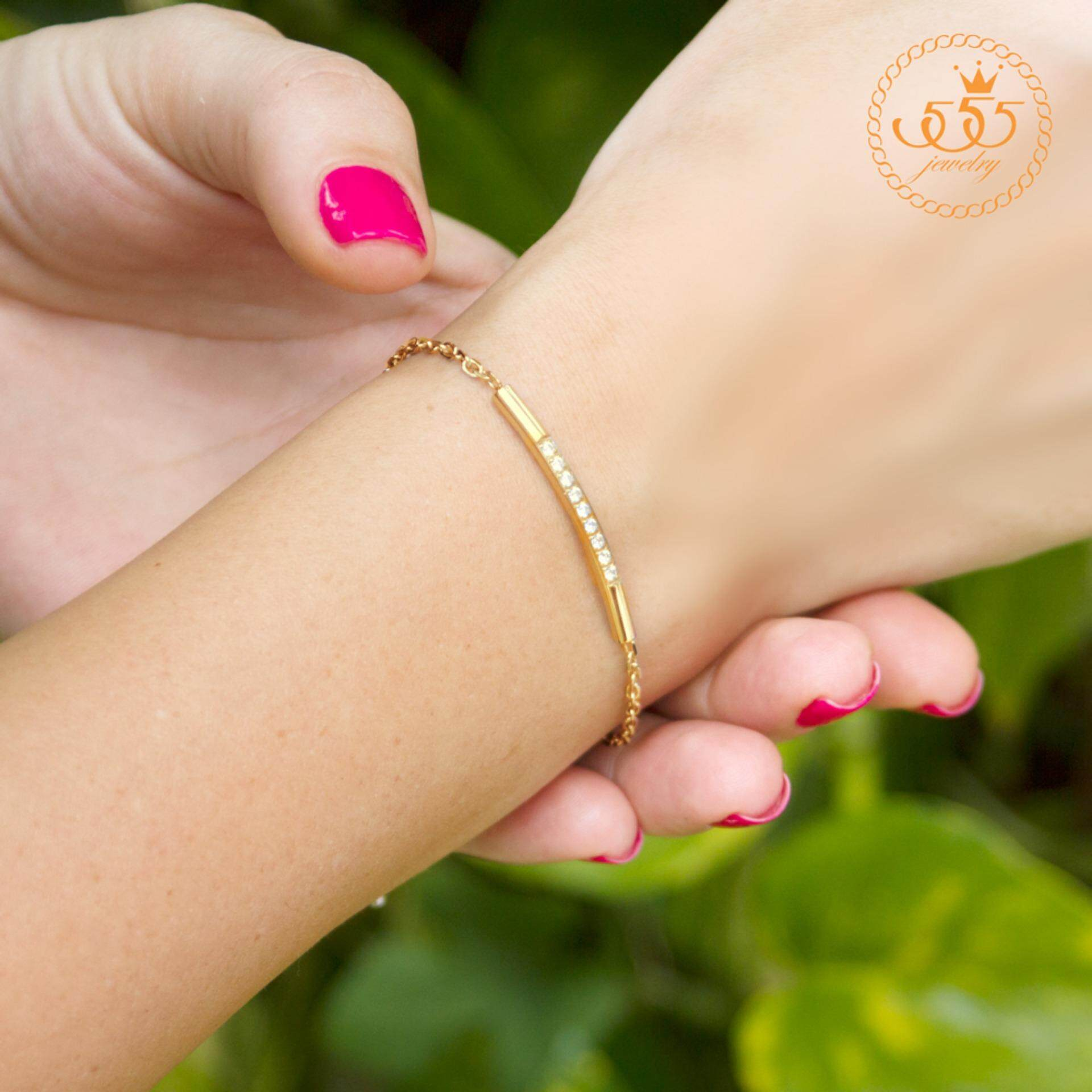 ขาย 555Jewelry สร้อยข้อมือเรียบหรูประดับ Cz รุ่น Mnc Br408 Br1 สร้อยข้อมือ สร้อยข้อมือผู้หญิง สร้อยข้อมือคู่ สร้อยข้อมือทอง กำไลข้อมือหญิง ข้อมือสแตนเลส