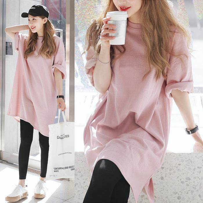 bcdd324ec0da 2019 Summer South Korea Women s Dress New Style Pink Loose And Plus-sized  Mid-