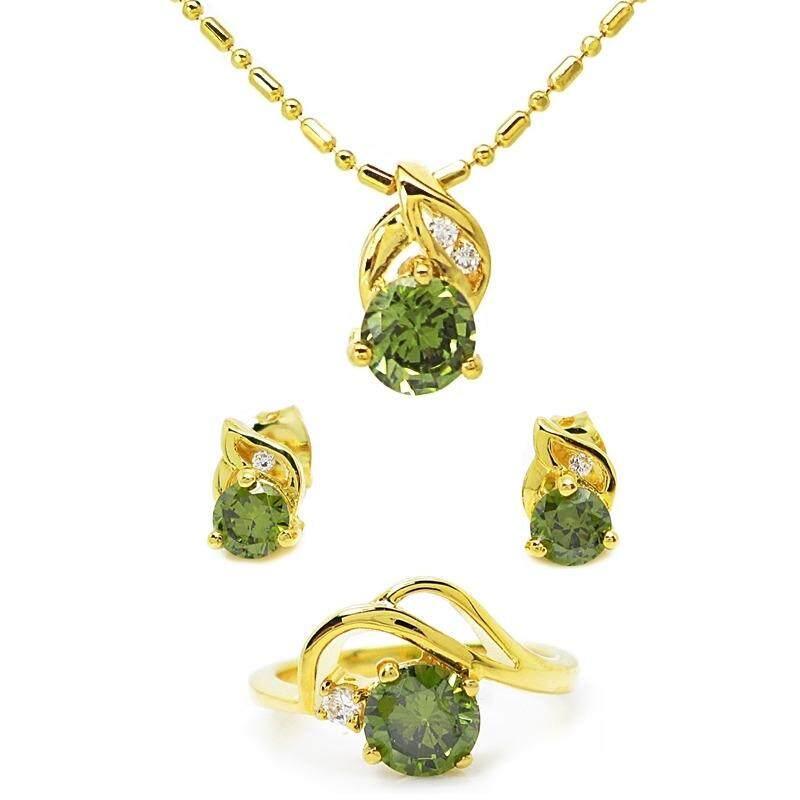 Tangems เซ็ท แหวน ต่างหูและสร้อยพร้อมจี้พลอยสีเขียวส่องประดับเพชร รุ่น 103 (ทอง/สีเขียวส่อง) ไซส์7.