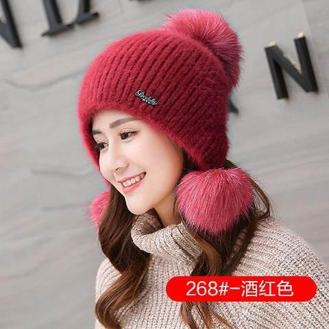 Topi Bulu Kelinci musim dingin perempuan topi wol rajut Versi Korea cantik dan manis modis pasang netral Penghangat Pelindung Telinga wol topi