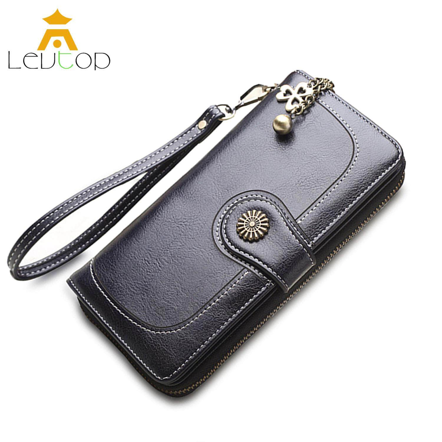 75c6bb3cc2ee55 LEVTOP Women Long Wallet Purse Card Holder PU Leather ladies wallet Clutch  Zipper Female Money Bag