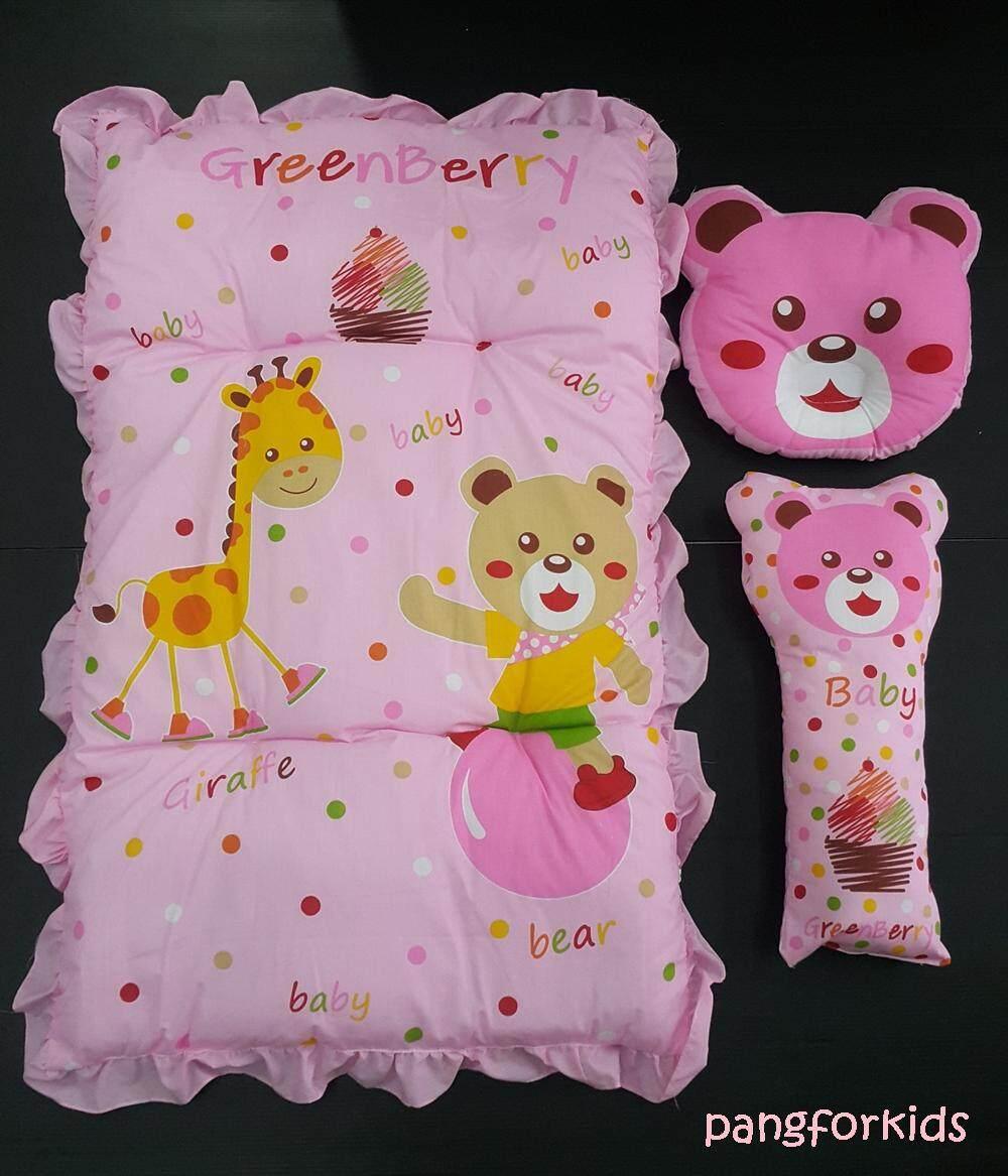 Pangforkids ชุดเบาะที่นอนปิคนิคเด็กลายหมีและยีราฟ พร้อมหมอนหลุม และหมอนข้าง ที่นอนใยสังเคราะห์เด็กอ่อน .